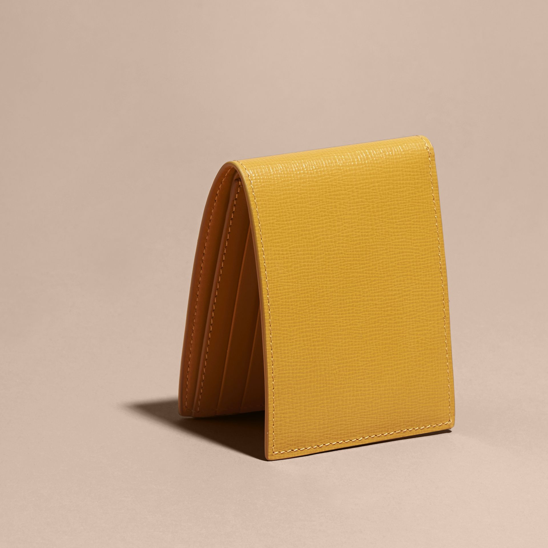 London Leather Bifold Wallet in Larch Yellow - gallery image 3