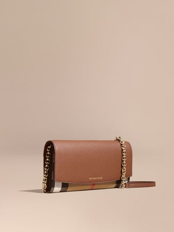 House Check and Leather Wallet with Chain in Tan - Women | Burberry Singapore
