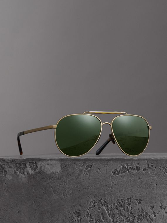 Top Bar Detail Pilot Sunglasses in Green