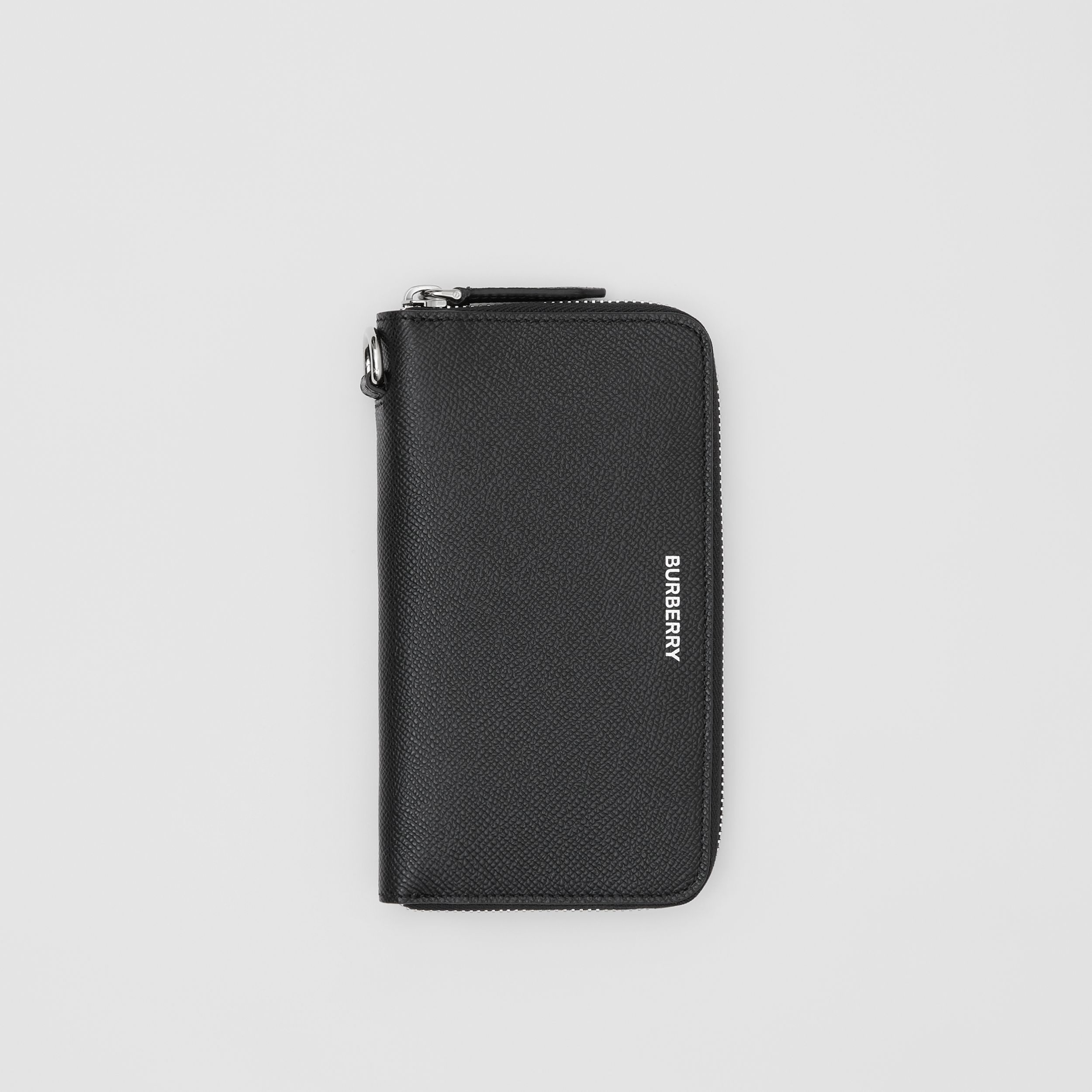 Grainy Leather Phone Wallet in Black - Men | Burberry - 1