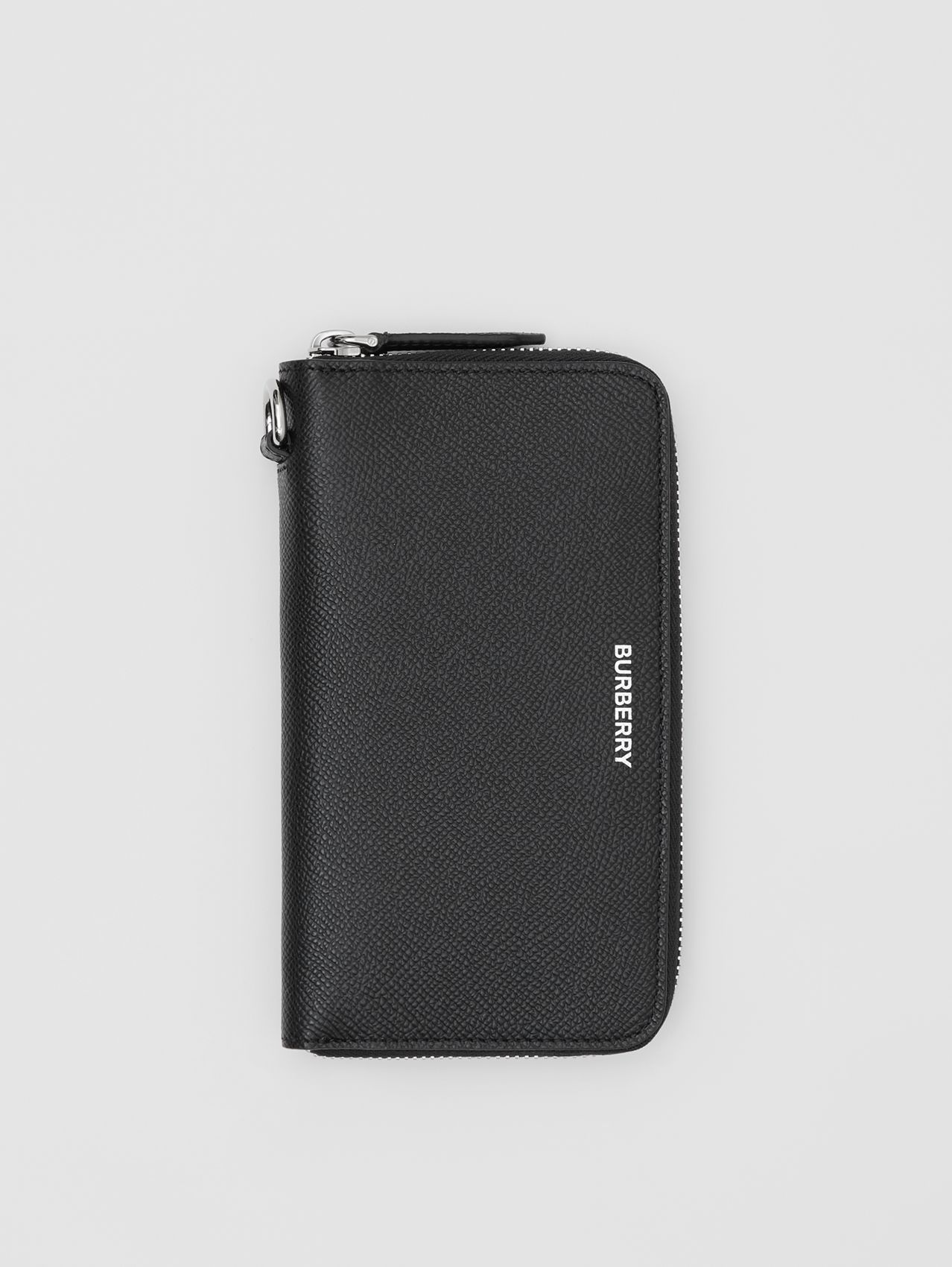 Grainy Leather Phone Wallet in Black