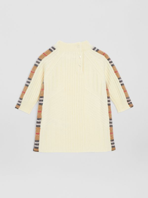 Check Detail Wool Cashmere Dress in Ivory - Children | Burberry Canada - cell image 3