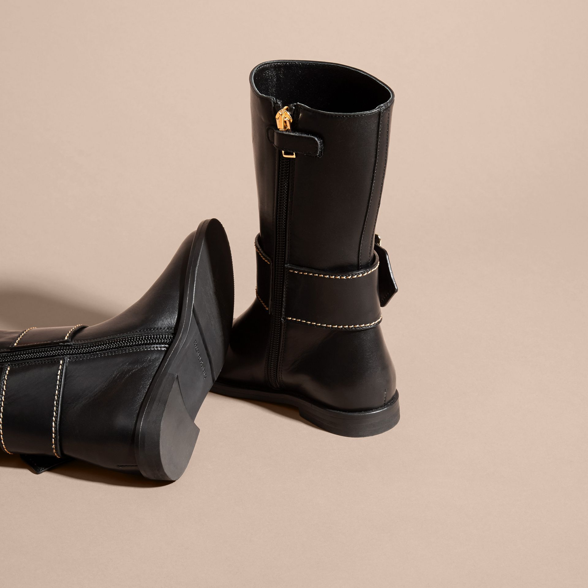 Black Buckle Detail Leather Riding Boots - gallery image 4