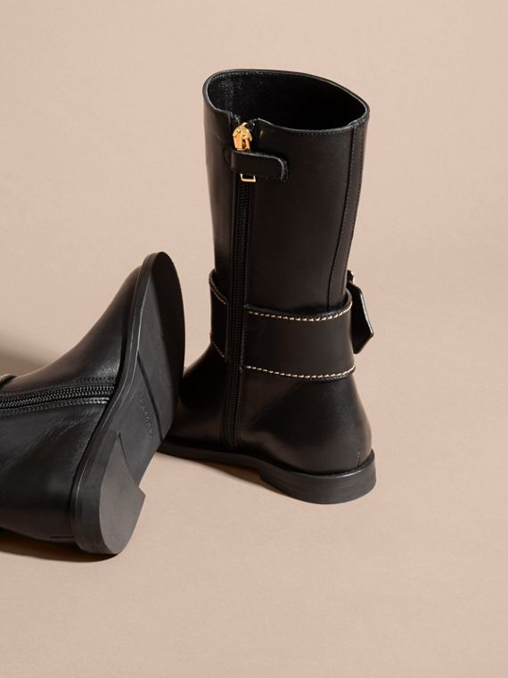 Buckle Detail Leather Riding Boots - cell image 3