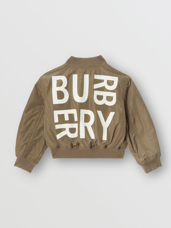 Logo Print Shape-memory Taffeta Bomber Jacket in Khaki | Burberry United Kingdom - cell image 3