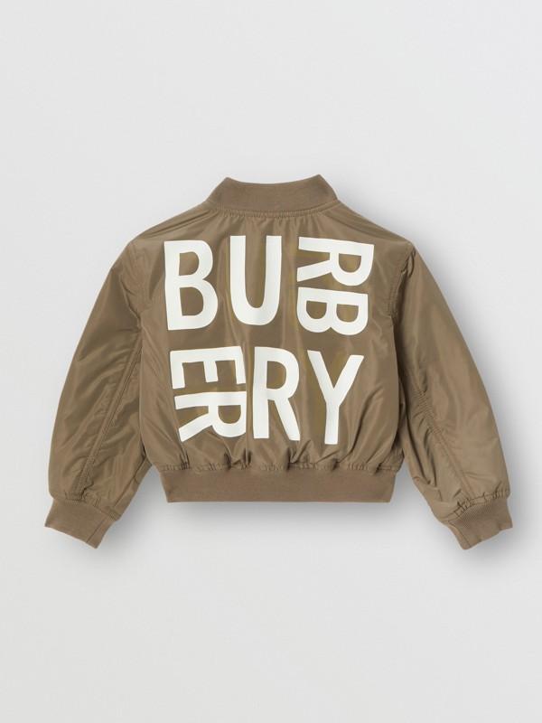 Logo Print Shape-memory Taffeta Bomber Jacket in Khaki | Burberry - cell image 3