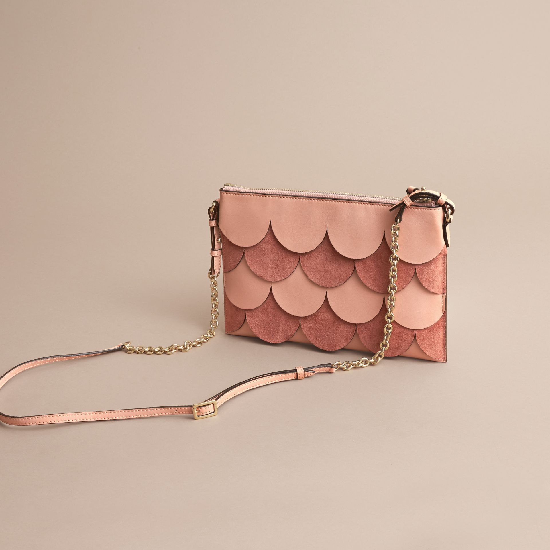 Two-tone Scalloped Leather and Suede Clutch Bag in Ash Rose - Women | Burberry United Kingdom - gallery image 5
