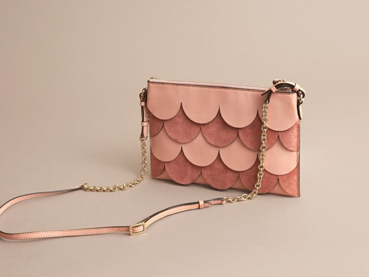 Two-tone Scalloped Leather and Suede Clutch Bag in Ash Rose - Women | Burberry - cell image 4