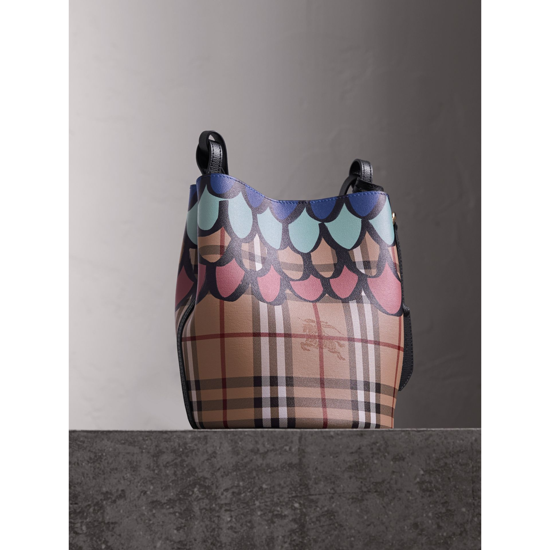 Trompe L'oeil Print Crossbody Bucket Bag in Black - Women | Burberry - gallery image 6