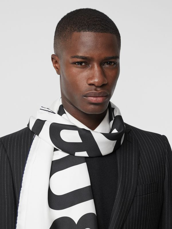 Horseferry Print Silk Large Square Scarf in White | Burberry Singapore - cell image 3