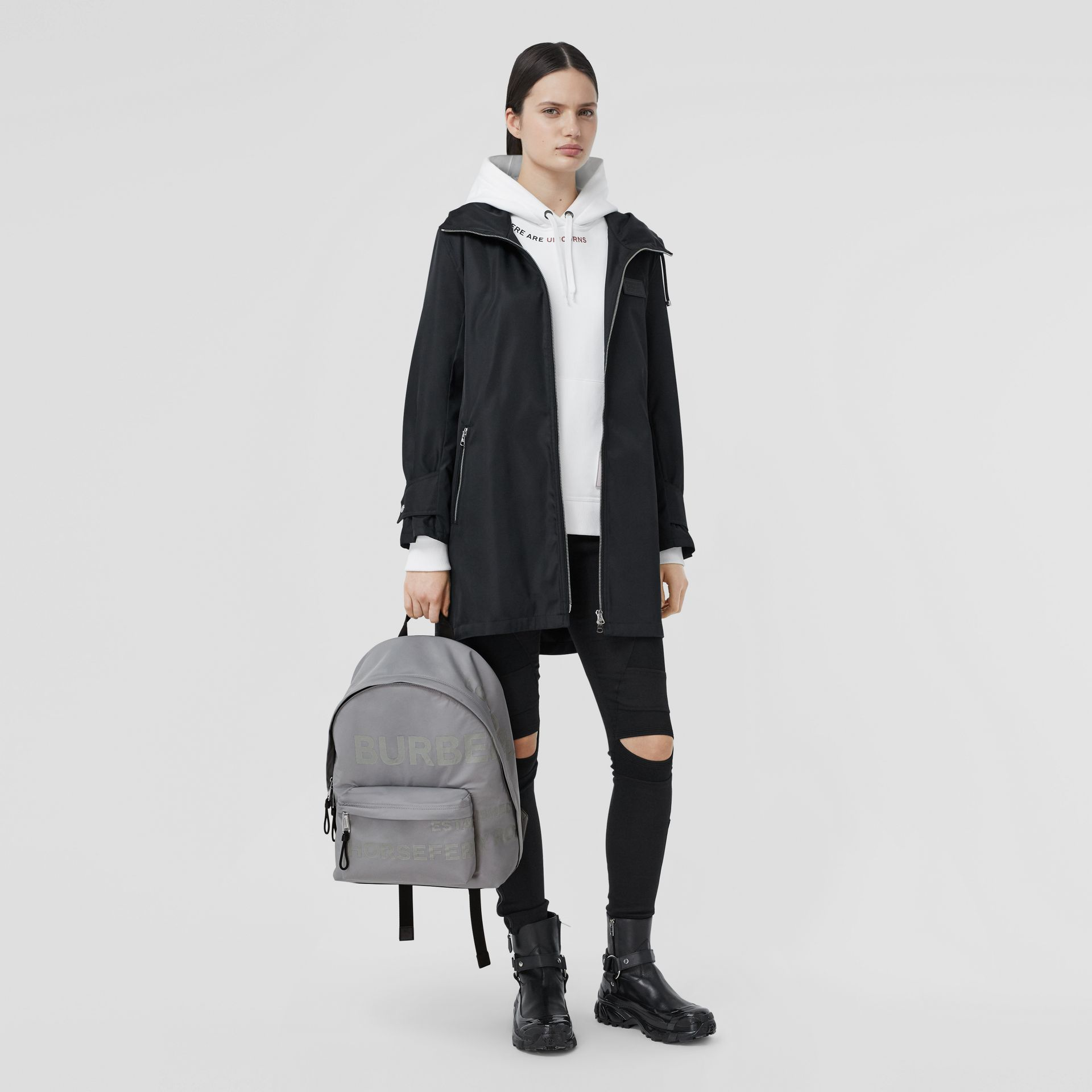 Horseferry Print ECONYL® Backpack in Cloud Grey | Burberry United States - gallery image 6