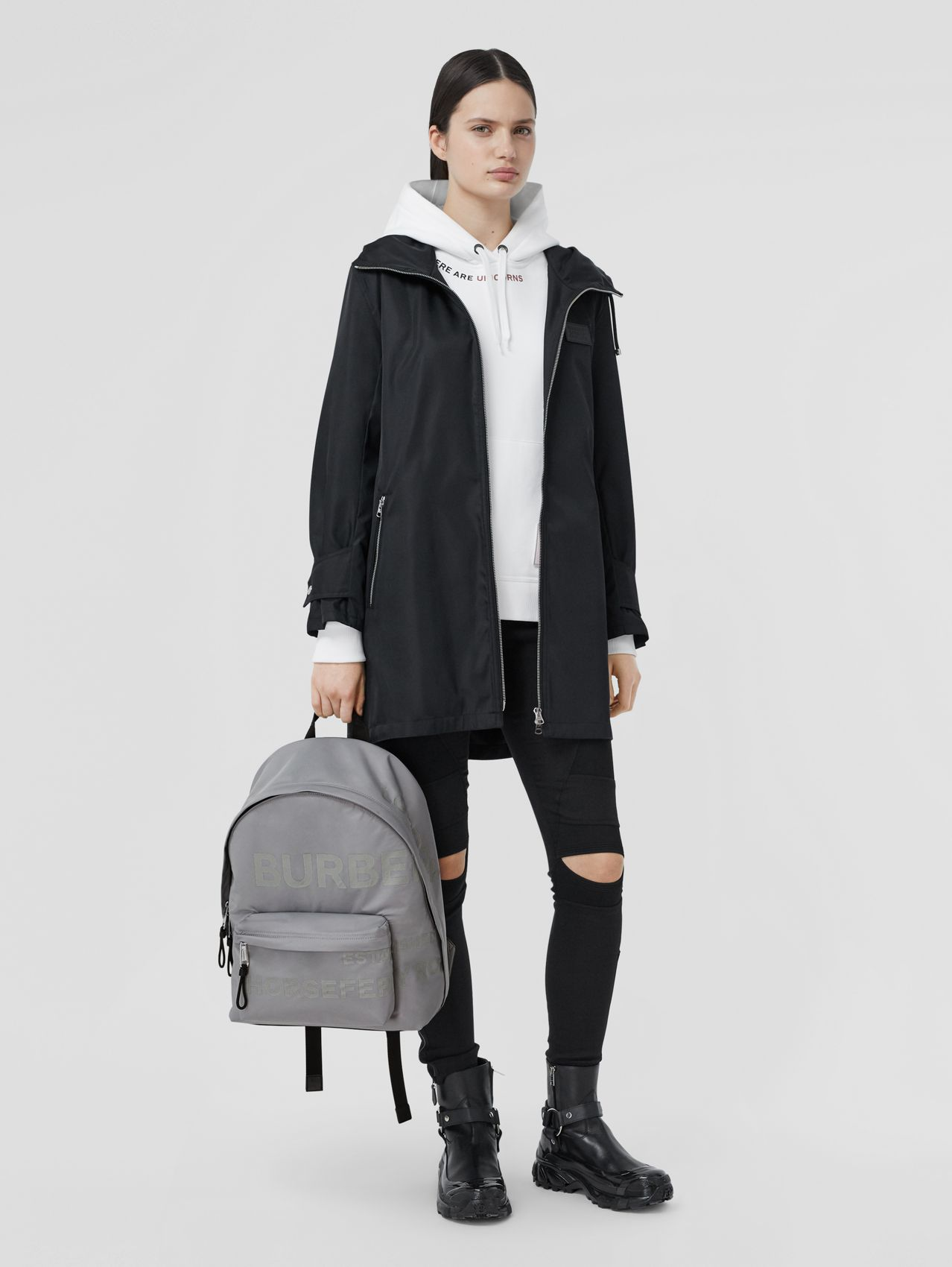 Horseferry Print ECONYL® Backpack in Cloud Grey