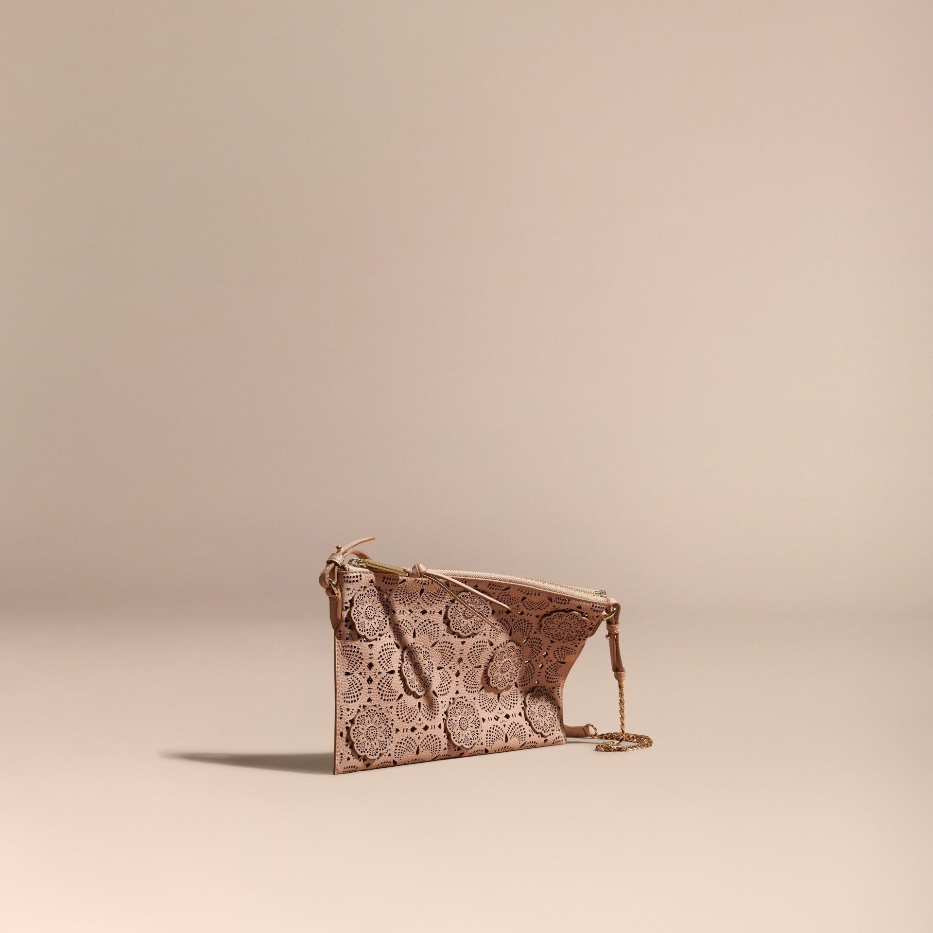 Pale apricot Laser-cut Floral Lace Leather Clutch Bag Pale Apricot - gallery image 1