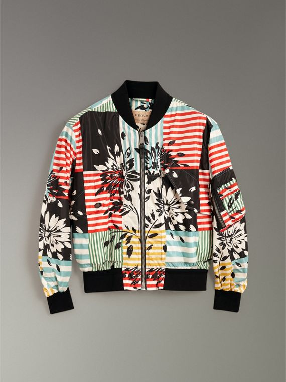 Floral Stripe Print Bomber Jacket in Steel Blue - Men | Burberry - cell image 3