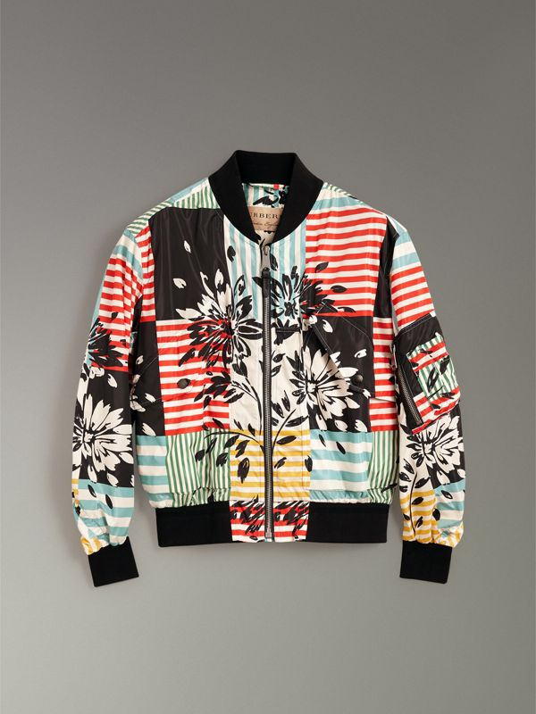 Floral Stripe Print Bomber Jacket in Steel Blue - Men | Burberry United States - cell image 3