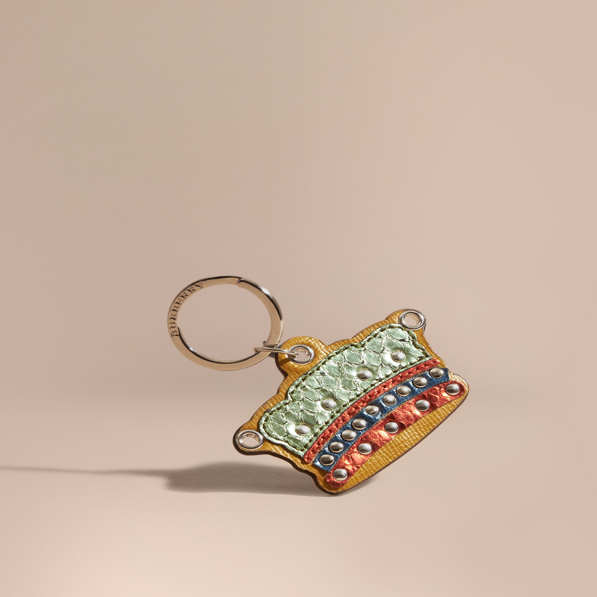 Storm green Snakeskin and Leather Crown Key Ring - gallery image 1