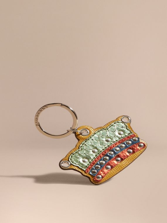 Snakeskin and Leather Crown Key Ring