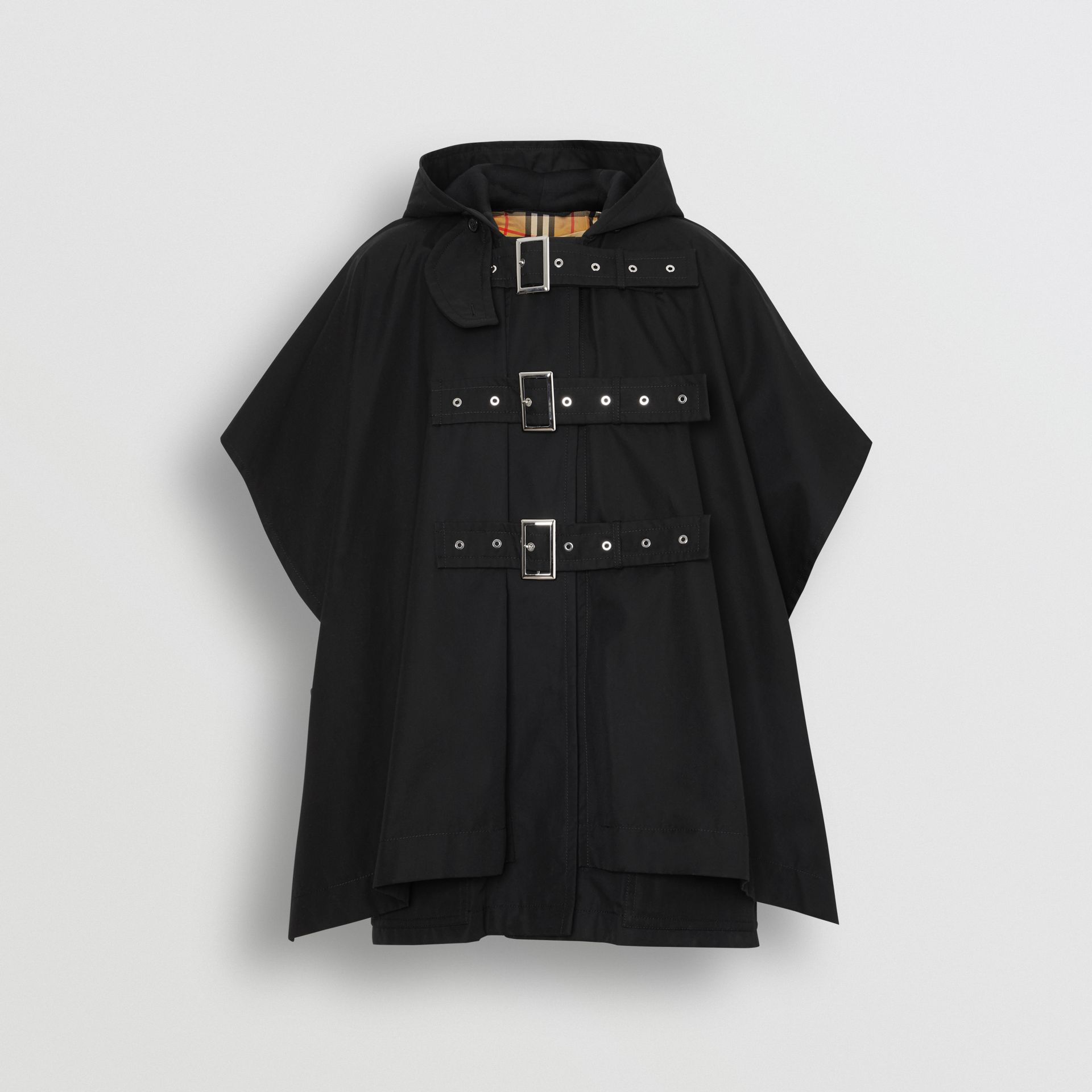 Triple Buckle Cotton Gabardine Cape Coat in Black | Burberry - gallery image 3