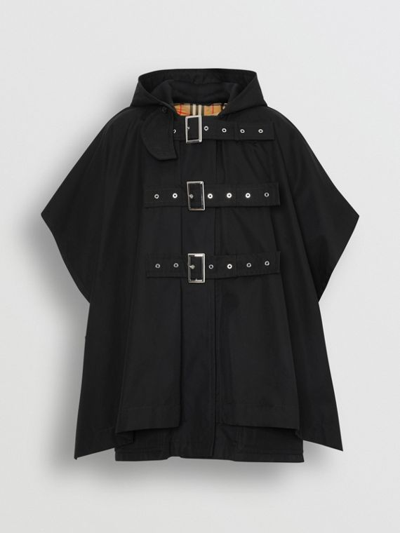Triple Buckle Cotton Gabardine Cape Coat in Black