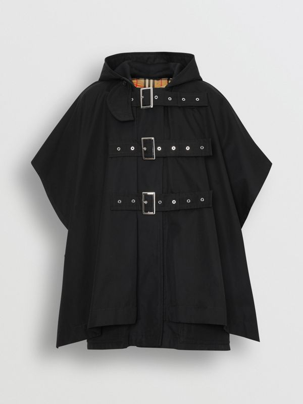 Triple Buckle Cotton Gabardine Cape Coat in Black - Women | Burberry Canada - cell image 3