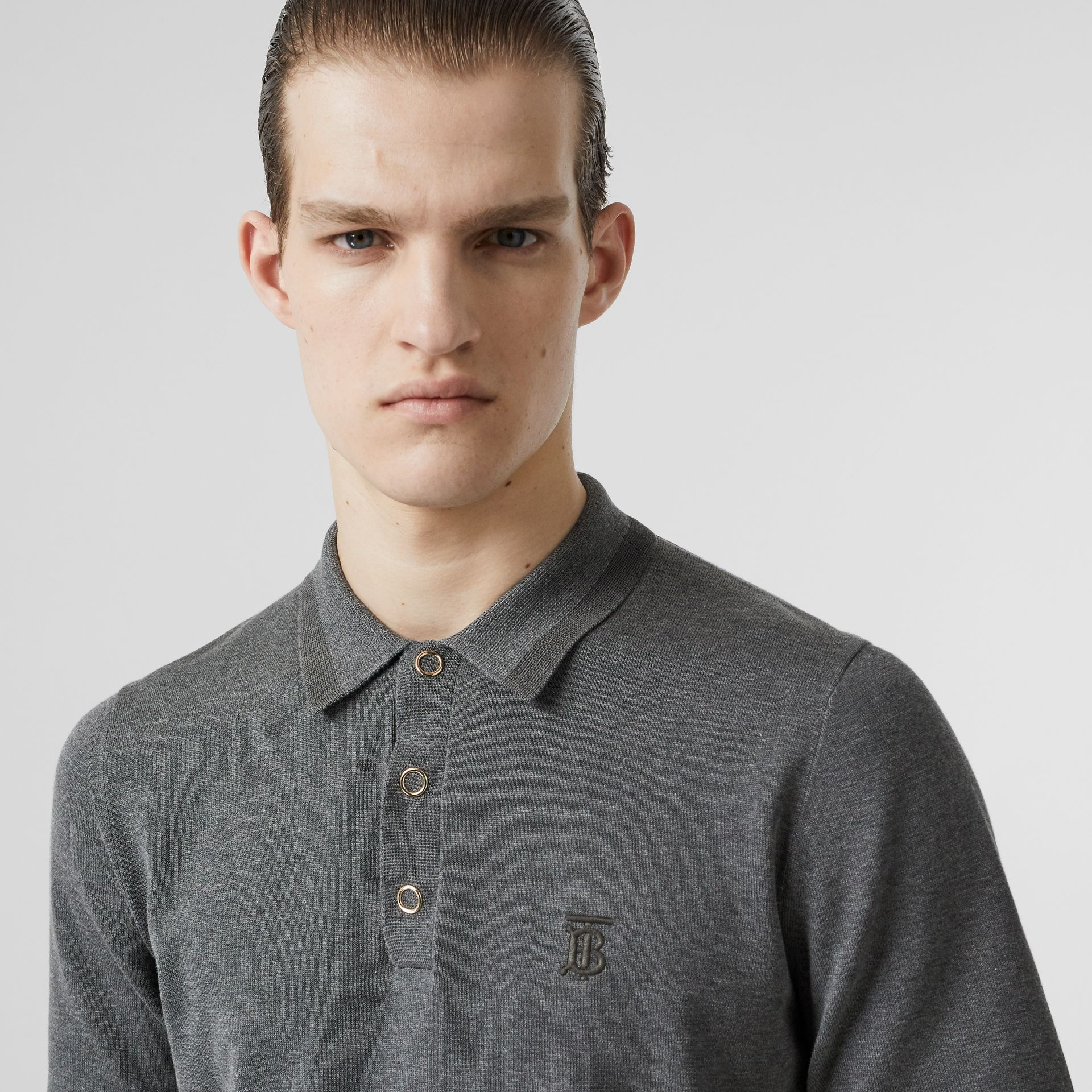 Monogram Motif Cotton Polo Shirt in Mid Grey Melange - Men | Burberry - gallery image 1
