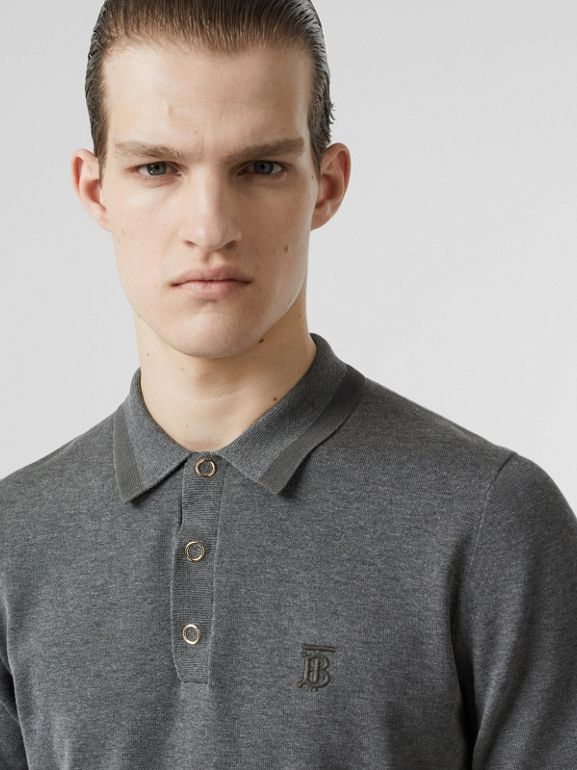 Monogram Motif Cotton Polo Shirt in Mid Grey Melange - Men | Burberry - cell image 1