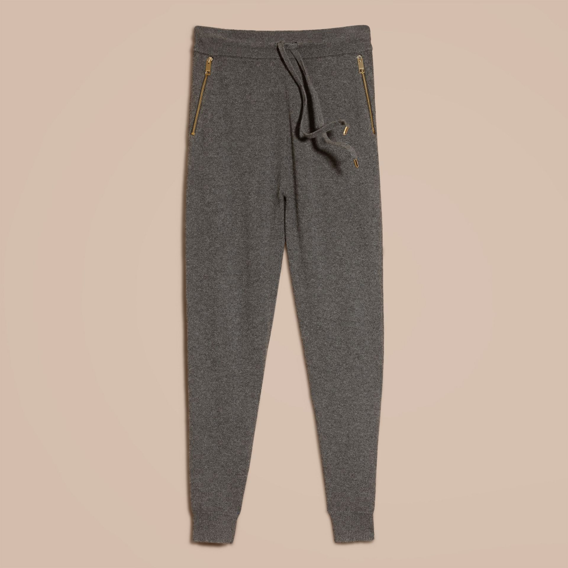 Dark grey melange Knitted Cashmere Cotton Joggers - gallery image 7