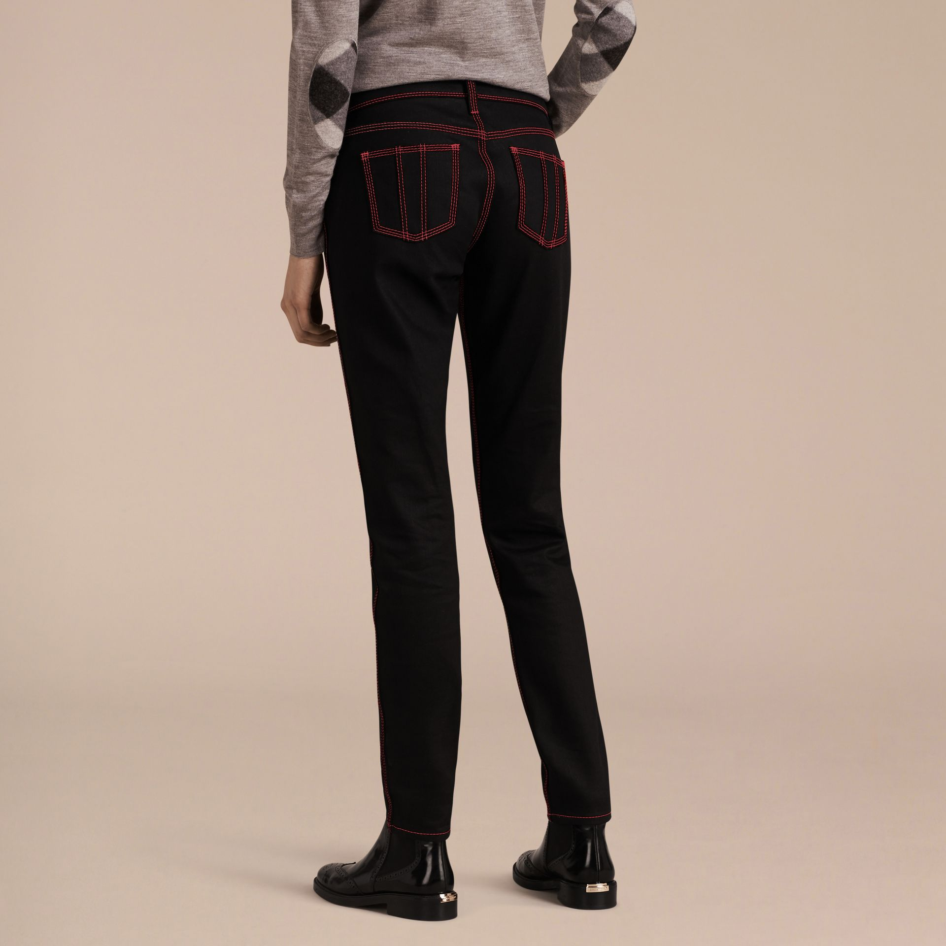 Black Skinny Fit Cropped Jeans with Topstitch Detail - gallery image 3