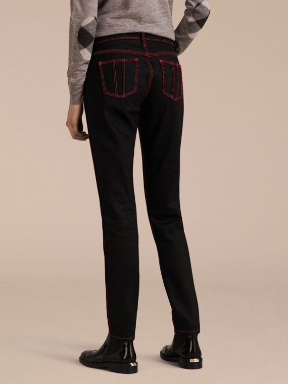 Black Skinny Fit Cropped Jeans with Topstitch Detail - cell image 2