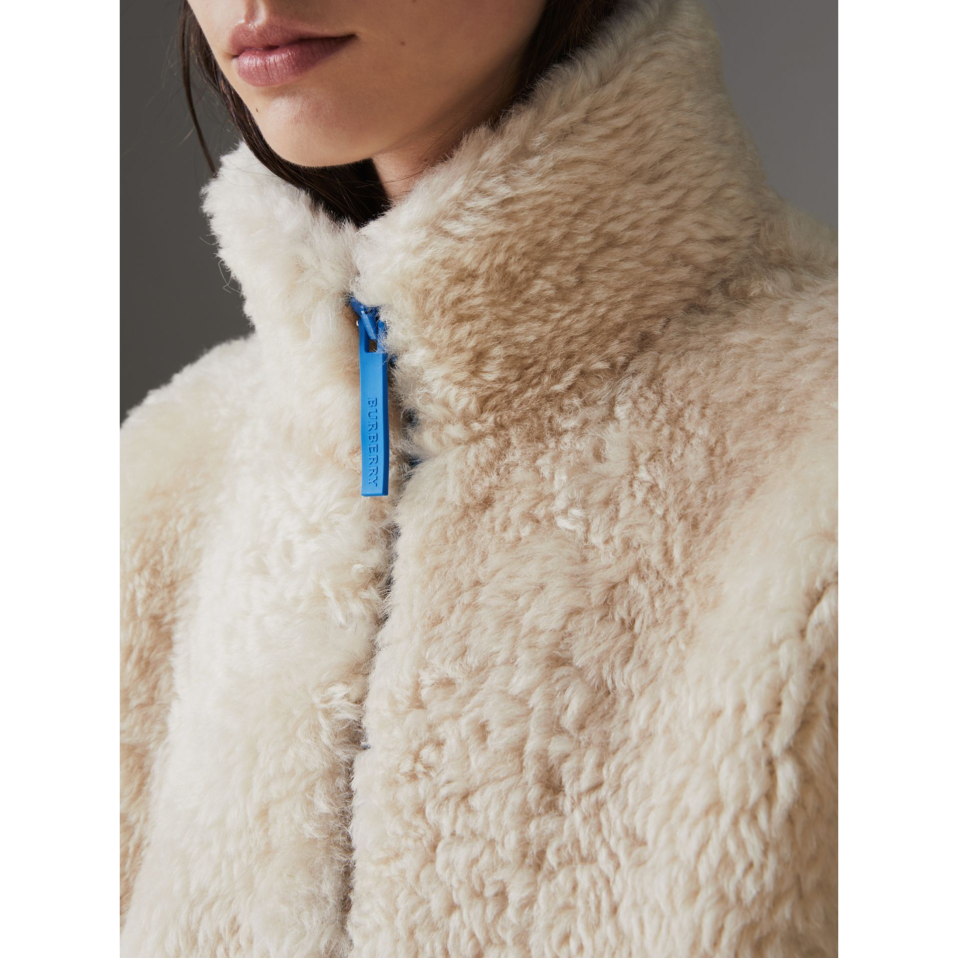 Contrast Zip Shearling Funnel-neck Jacket in Natural White - Women | Burberry Singapore - gallery image 1