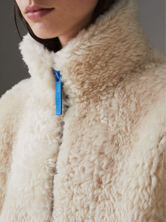 Contrast Zip Shearling Funnel-neck Jacket in Natural White - Women | Burberry - cell image 1