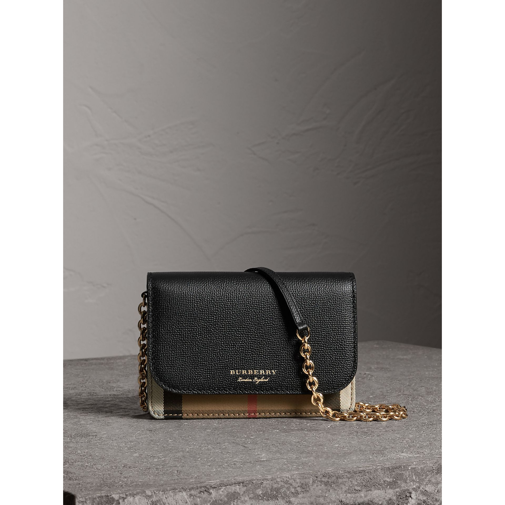 Leather and House Check Wallet with Detachable Strap in Black - Women | Burberry - gallery image 1
