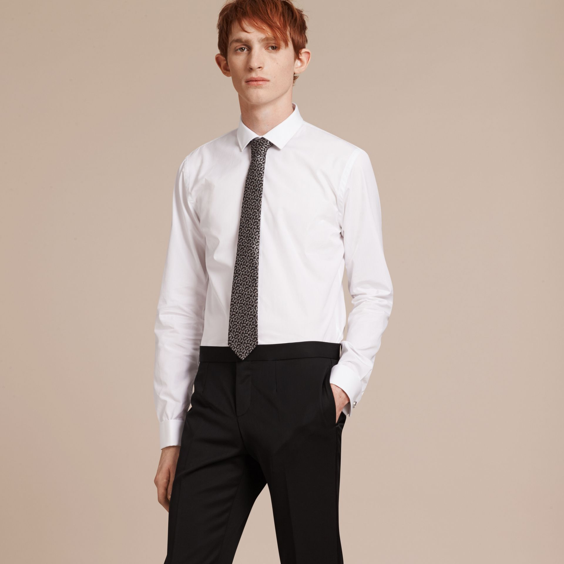 Slim Fit Double Cuff Cotton Poplin Shirt in White - Men | Burberry - gallery image 6