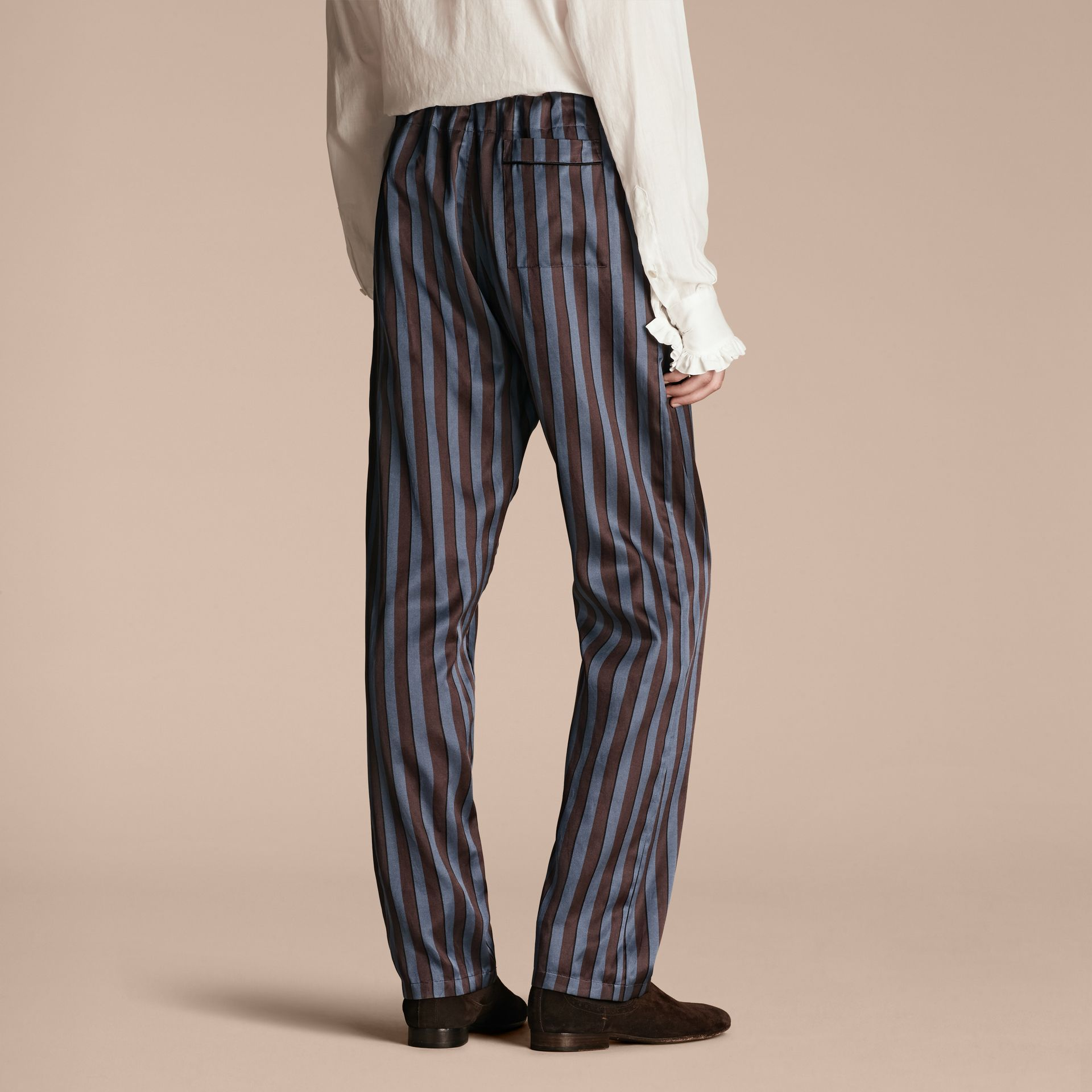 Navy Striped Silk Cotton Pyjama-style Trousers - gallery image 3