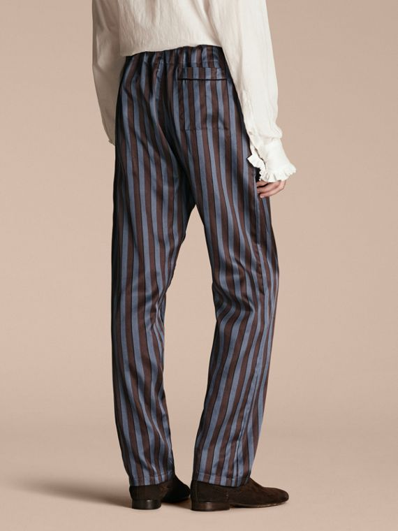 Navy Striped Silk Cotton Pyjama-style Trousers - cell image 2
