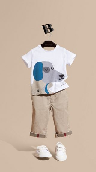 Dog Motif Cotton T-Shirt