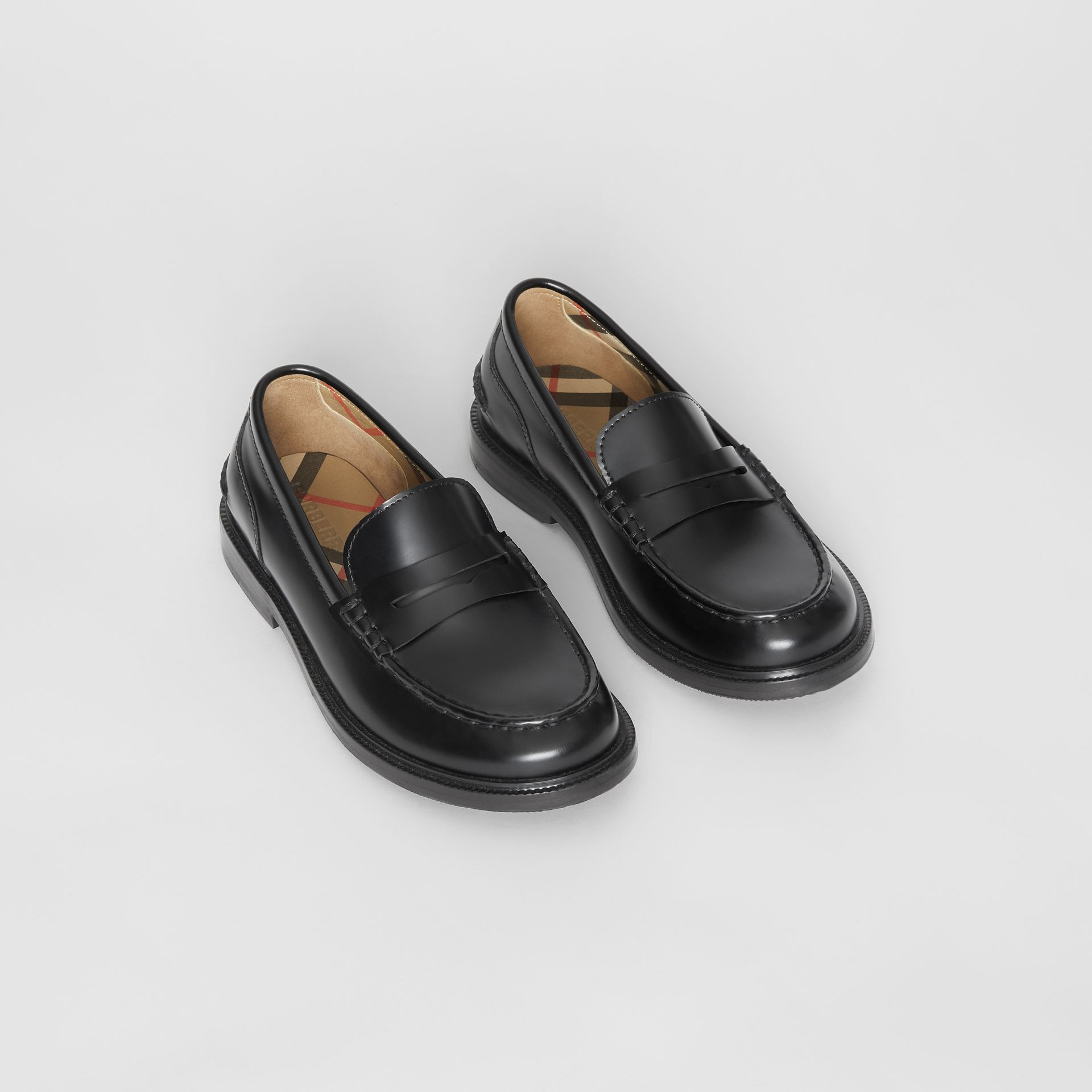 Smooth Leather Loafers in Black - Children | Burberry - gallery image 0