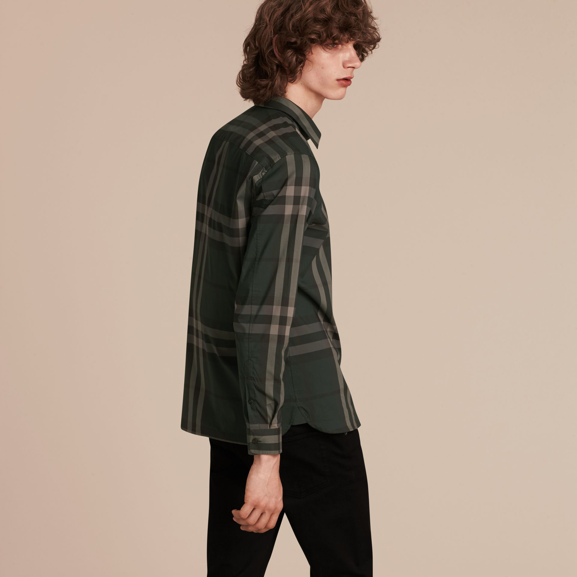Racing green Check Stretch Cotton Shirt Racing Green - gallery image 3