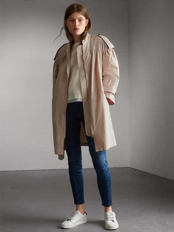 Lightweight Ruched Coat in Antique Taupe Pink
