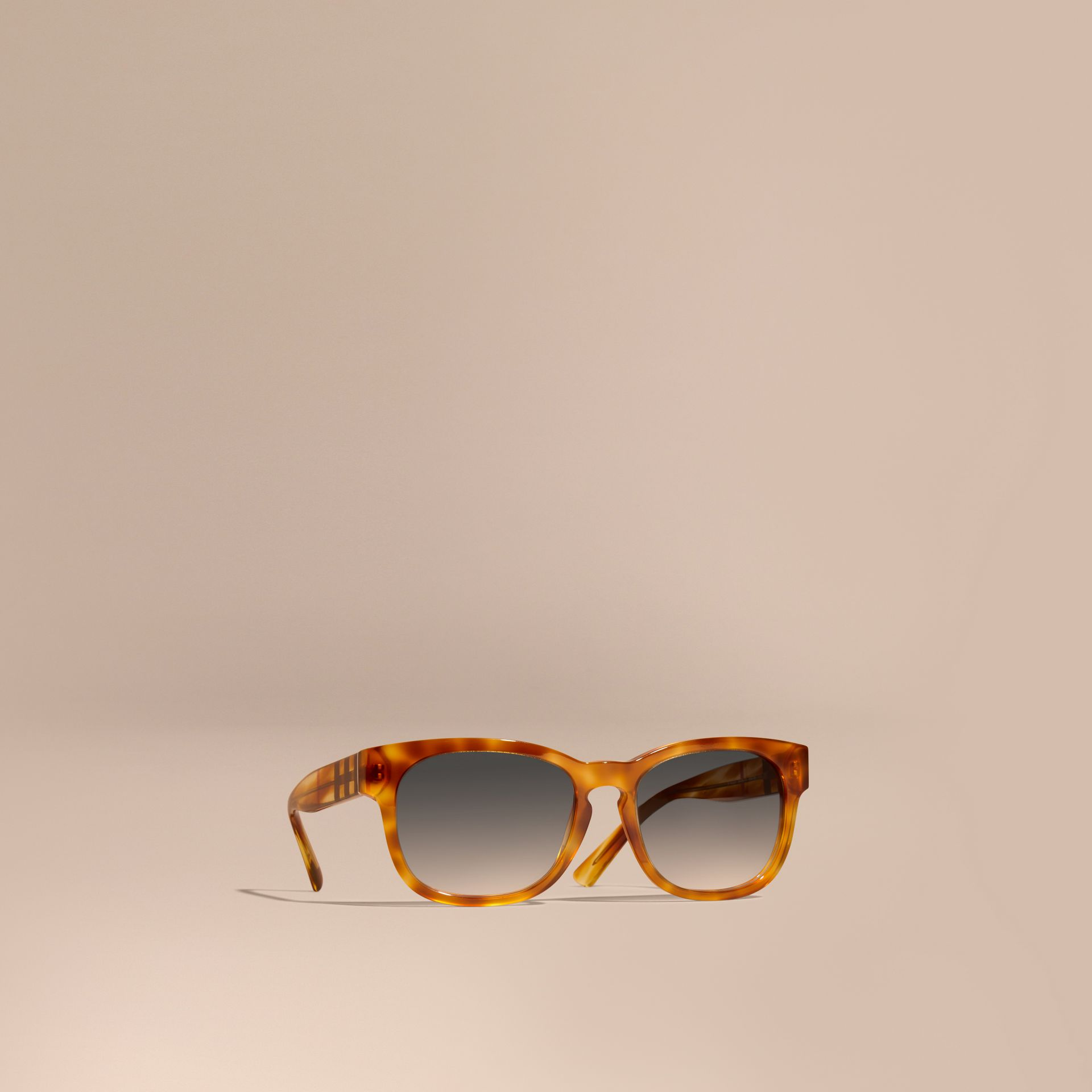 Light russet brown Check Detail Square Frame Sunglasses - gallery image 1