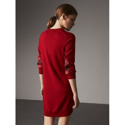 Burberry Check Elbow Detail Merino Wool Sweater Dress Cheap Exclusive Popular Sale Online Qym5Z