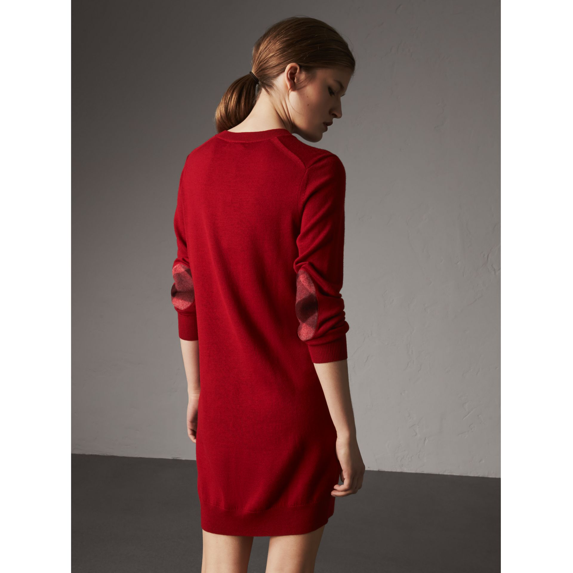 Check Elbow Detail Merino Wool Sweater Dress in Parade Red - Women | Burberry - gallery image 1