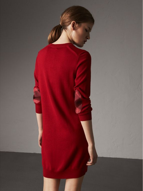 Check Elbow Detail Merino Wool Sweater Dress in Parade Red - Women | Burberry Australia