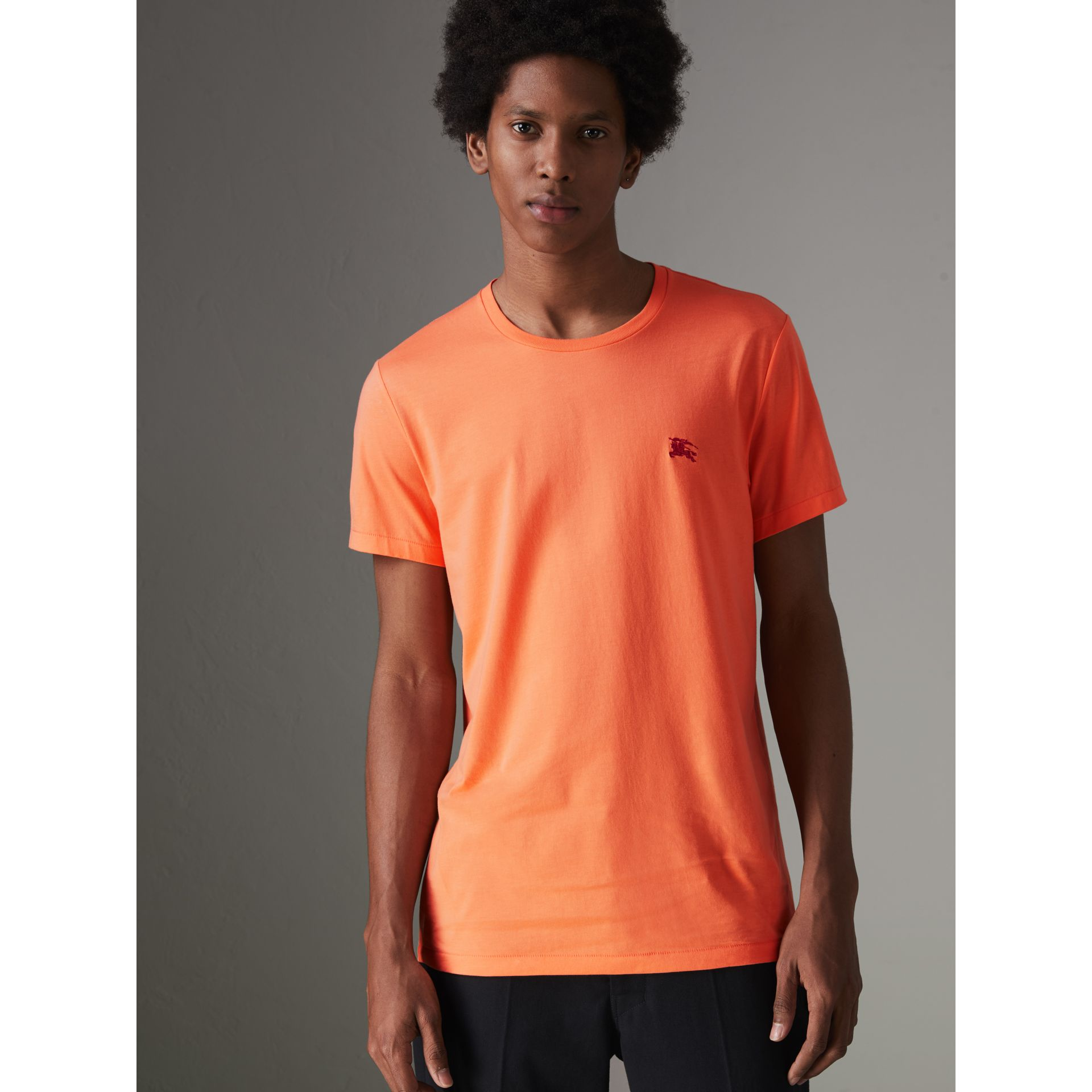Cotton Jersey T-shirt in Bright Orange - Men | Burberry Singapore - gallery image 4