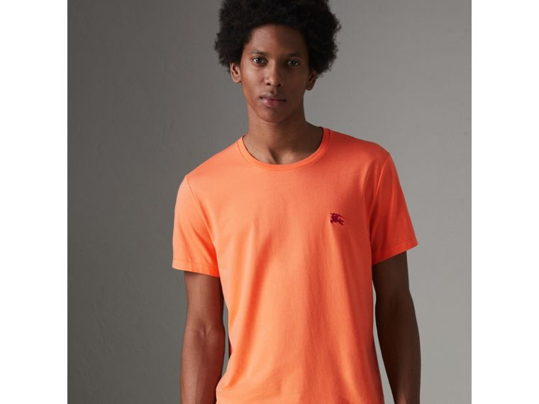 Cotton Jersey T-shirt in Bright Orange - Men | Burberry Singapore - cell image 4