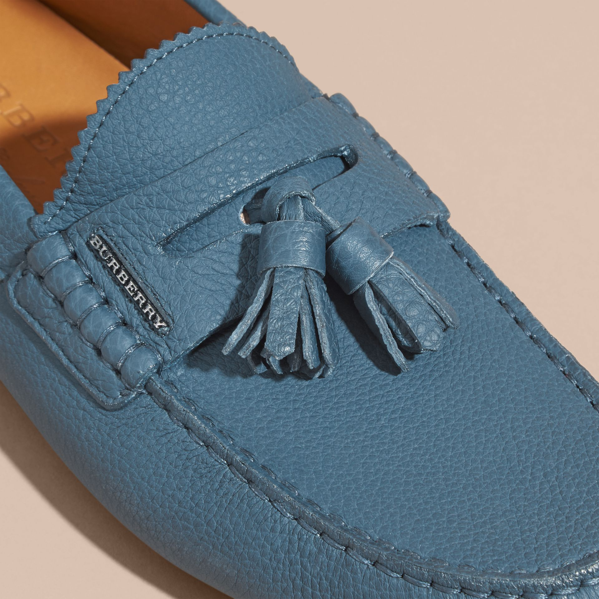 Tasselled Grainy Leather Loafers Dark Mineral Blue - gallery image 2