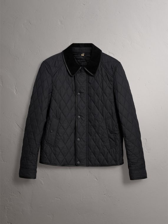 Leather Piping Corduroy Collar Quilted Jacket in Black - Men | Burberry - cell image 3