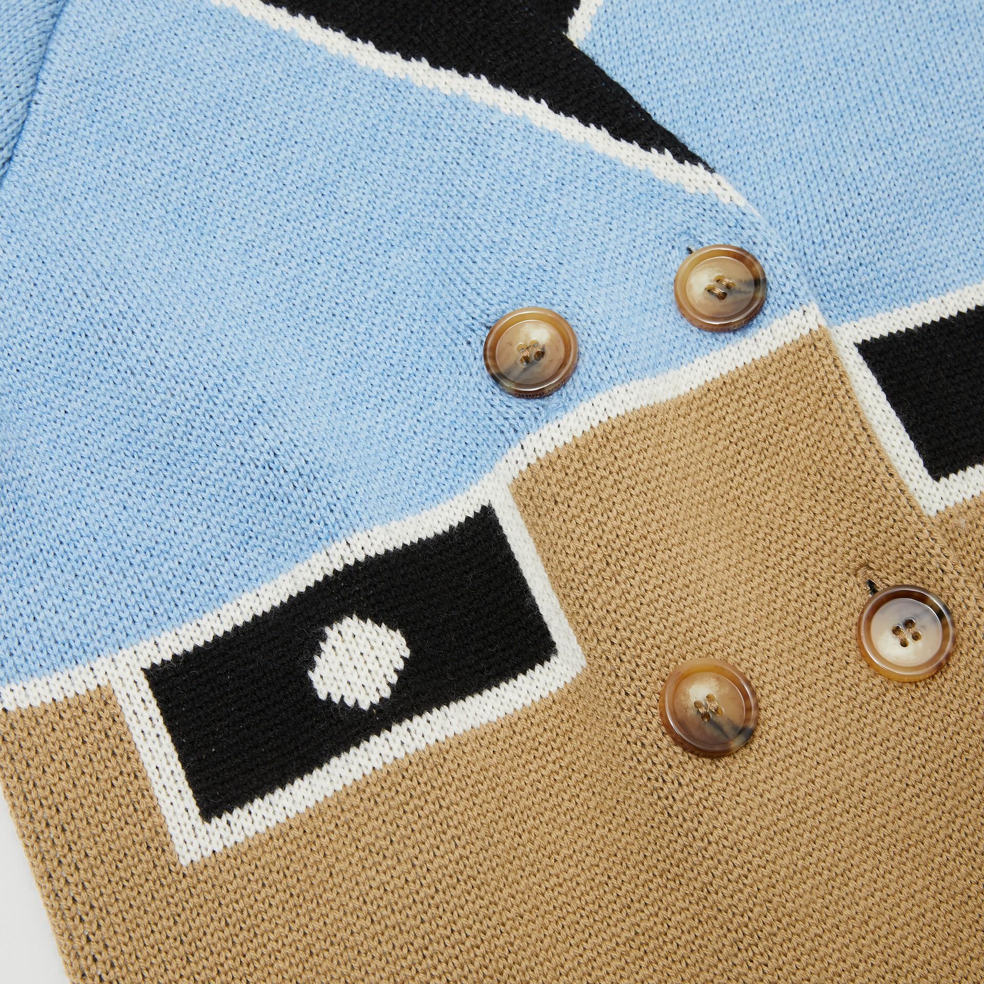 Trompe L'Oeil Intarsia Wool Coat in Dusty Blue   Burberry United Kingdom - gallery image 1