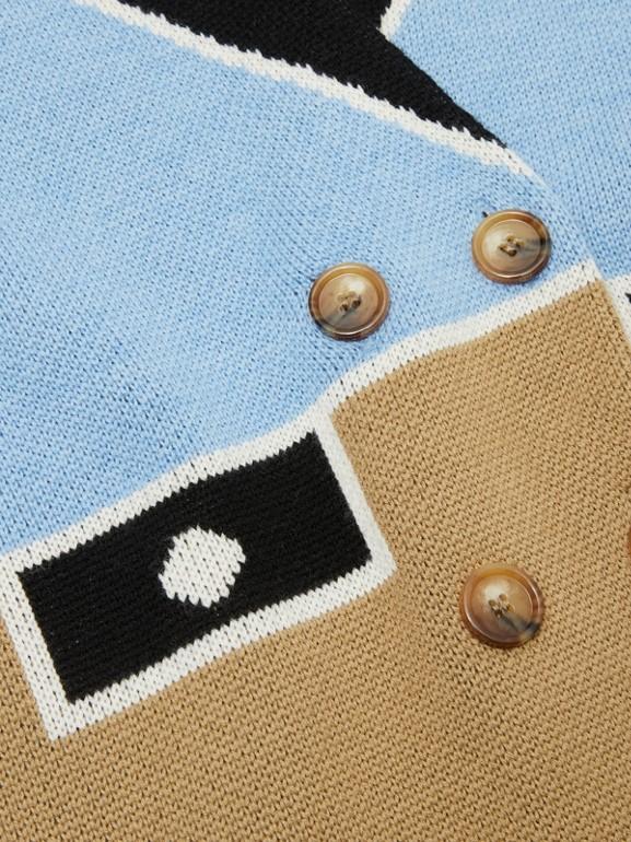 Trompe L'Oeil Intarsia Wool Coat in Dusty Blue   Burberry United Kingdom - cell image 1