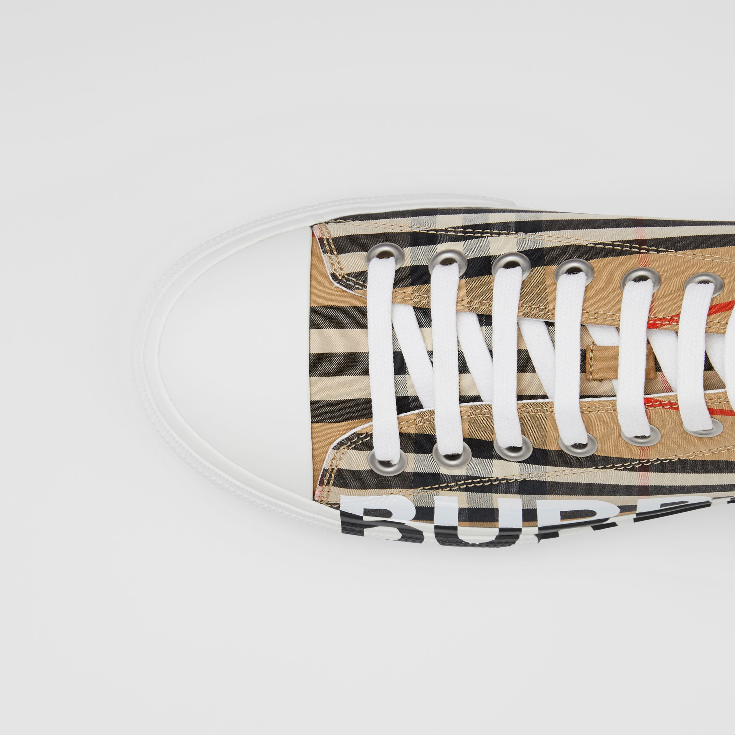 Logo Print Vintage Check Cotton Sneakers in Archive Beige - Men | Burberry - 2